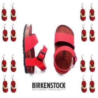 Sandal Birkenstock Anak tanggung Ban 2 Gesper Belakang Merah (Sydney).