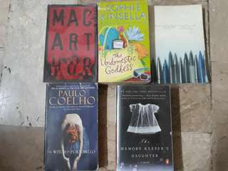 Macartur by Bob Ong,The Undomesticated Goddess-Sophie Kinsela, Stainleslonganis-Bob Ong, The witch of Portabello-Paulo Coeho, Memory Keepers Daughter-Kim Edwards