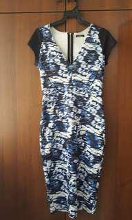 ZARA Blue printed Dress with Frayed seams