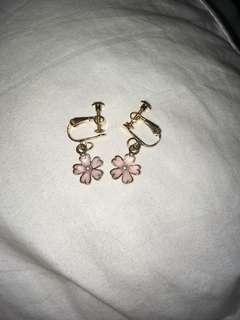 Pink daisies clip on earring
