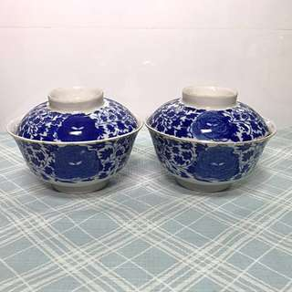 Peranakan Nyonya Blue & White Cup with Lid
