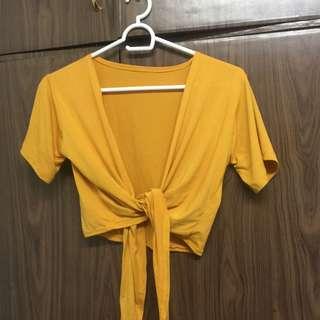 Yellow Tie-Front Top