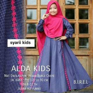 MF - 0418 - Dress Gamis Busana Muslim Anak Alda Syarii Kids Plus Khimar