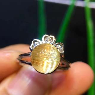 超美純天然鈦晶轉運珠戒指女款