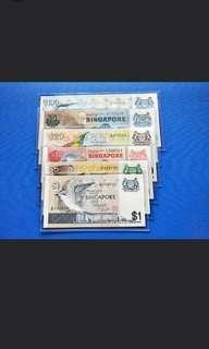Singapore bird Series banknotes @1-$100