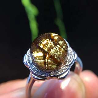 巴西純天然鈦晶女款轉運珠戒指