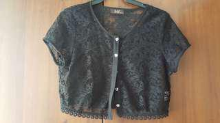 Black Cropped Lace Cardigan
