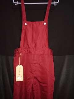 Plain overall jumpsuit maroon