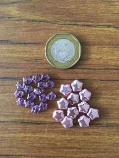 Star shaped glass beads, purple and pink