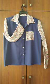 Blue Blouse with Floral Long Sleeves