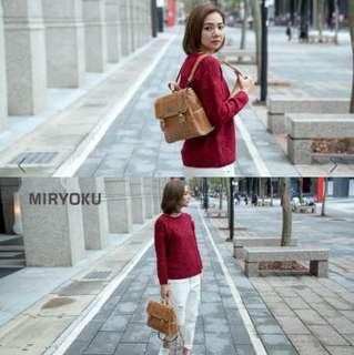 🚚 MIRYOKU 經典復古皮革系列2用包