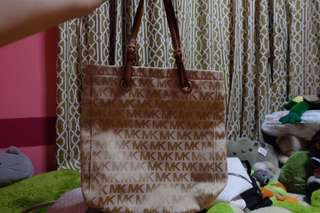 MICHAEL KORS BROWN LOGO JACQUARD FABRIC TOTE BAG