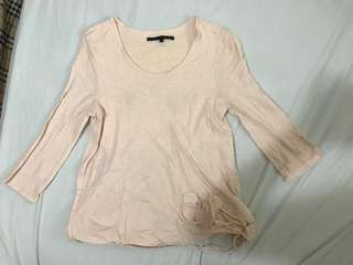 🚚 a la sha七分袖粉色棉上衣(2號)
