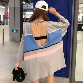 Minimei追加款✪韓系韓版歐美風百搭休閒個性背後鏤空短袖拼色T恤女