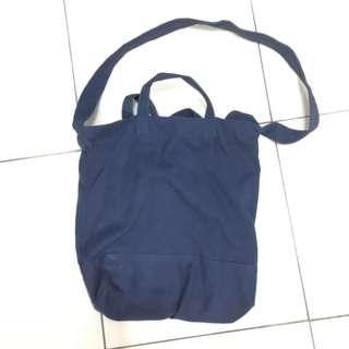 Lowrys Farm 日系海軍藍寶藍色帆布肩背包側背包提袋托特包