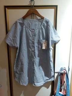🚚 無印良品短袖條紋襯衫上衣L號