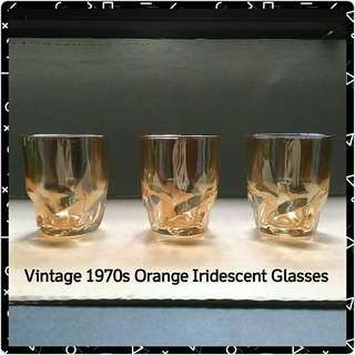 Vintage 1970s Orange Iridescent Glasses, Set of 3.