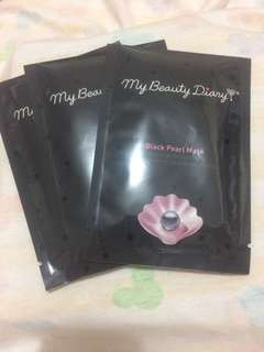 3 pcs - My beauty diary black pearl mask