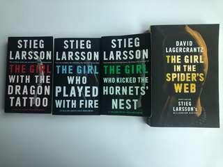The Girl With The Dragon Tattoo trilogy + newest novel by Stieg Larrson