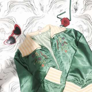 Green Embroidered