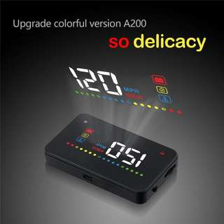 711. AICase 3.5 inches A200 OBD 2 II Car Windshield HUD Head Up Display with Warning System Projector Windscreen Overspeed Fatigue Warning RPM Water Temperature