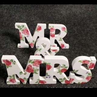 💕Unique European style wooden painting roses MR & MRS bridal wedding photography props💕