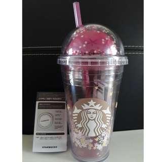 全新韓國 星巴克Starbucks 2018 蝴蝶花朵吸管冷水隨行杯 473ml