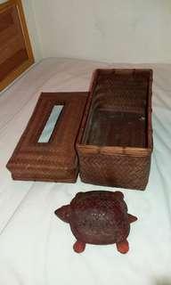 竹編衛生紙盒跟一知烏龜