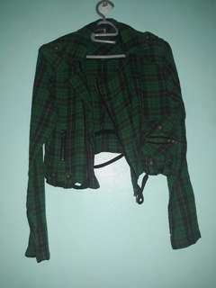 Green Checkered Cropped Jacket