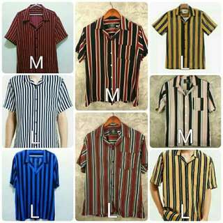 Vertical Stripes Buttondown Cuban Polo