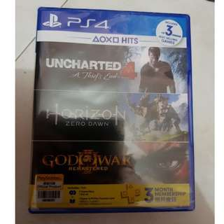 Never thought possible? Playsrtation 4 (PS4) games 3 in 1 Uncharted 4, horizon zero dawn complete edition, God of War 3 Remastered with 3 months of Playstation Network (PSN) membership