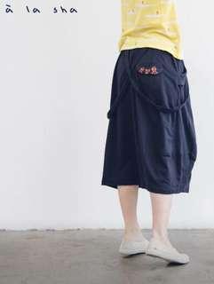 A la sha Alasha 吊帶裙 過膝裙 長裙 丈青 深藍 兩穿 阿財 棉裙