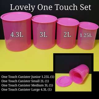 Authentic Tupperware Lovely One Touch Set  One Touch Canister Junior 1.25L (1) One Touch Canister Small 2L (1) One Touch Canister Medium 3L (1) One Touch Canister Large 4.3L (1) Retail Price S$75.00 Now S$70.00