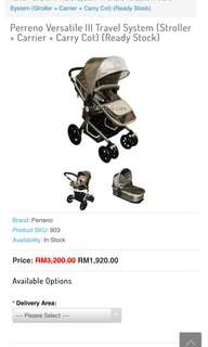 Perreno Versatile III Travel System (Stroller + Carrier + Carry Cot)