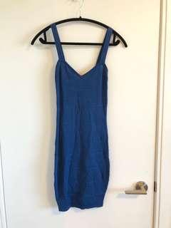 Stretchy blue bodycon dress