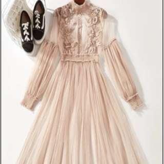 Elegant Chiffon Lace Dress (Nude Brown)
