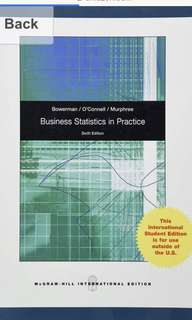 Business Statistics in Practice (6th edition) Textbook