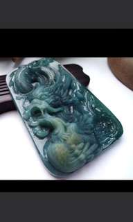 🌟Grade A 水润 Dragon and Phoenix 龙凤呈祥 Jadeite Jade Pendant/Display🌟