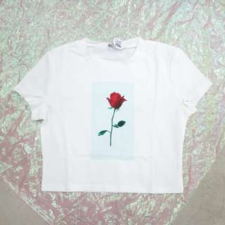 玫瑰花造型短版t