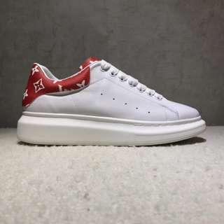 LV x Supreme x McQueen 白紅 經典麥昆小白鞋 3D彩印 內裏小羊皮 男女