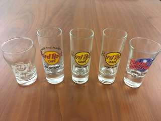 Set of 5 Hard Rock collectible glass