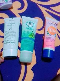 Scentio skin refining 100 ori, purbasari lulur wajah facial scrub,bioaqua sunscreen