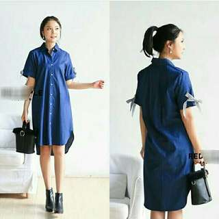 Denim Ribbon Arm Shirt Dress Tunik denim midi dress polos dress bahan