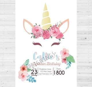 E-invitation card (unicorn)