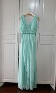 Pastel Mint Green Gown / Long Dress (Dual Style)