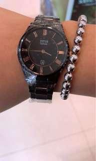 清貨推介款😎👍🏻必入手👑半價都吾使❗️全新品黑色女裝陶瓷錶❗️現貨不多💕兩年保養