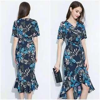 🐋Irregular Hemline printed  dress