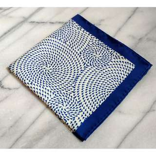 🚚 Silk Mens Pocket Square-Navy Pocket Square with Blue and White Geometric Design