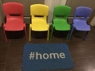 Rainbow inspired chairs and throw pillows