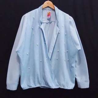 Cardi outer branded soft blue